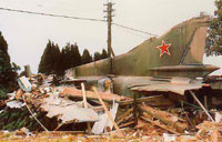 Remains of the crashed MiG 23